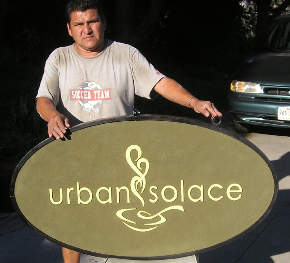 Q25406 - Carved HDU (or Wood Also Avail.) Sign for Urban Solace Coffee Bar with Steaming Cup of Coffee