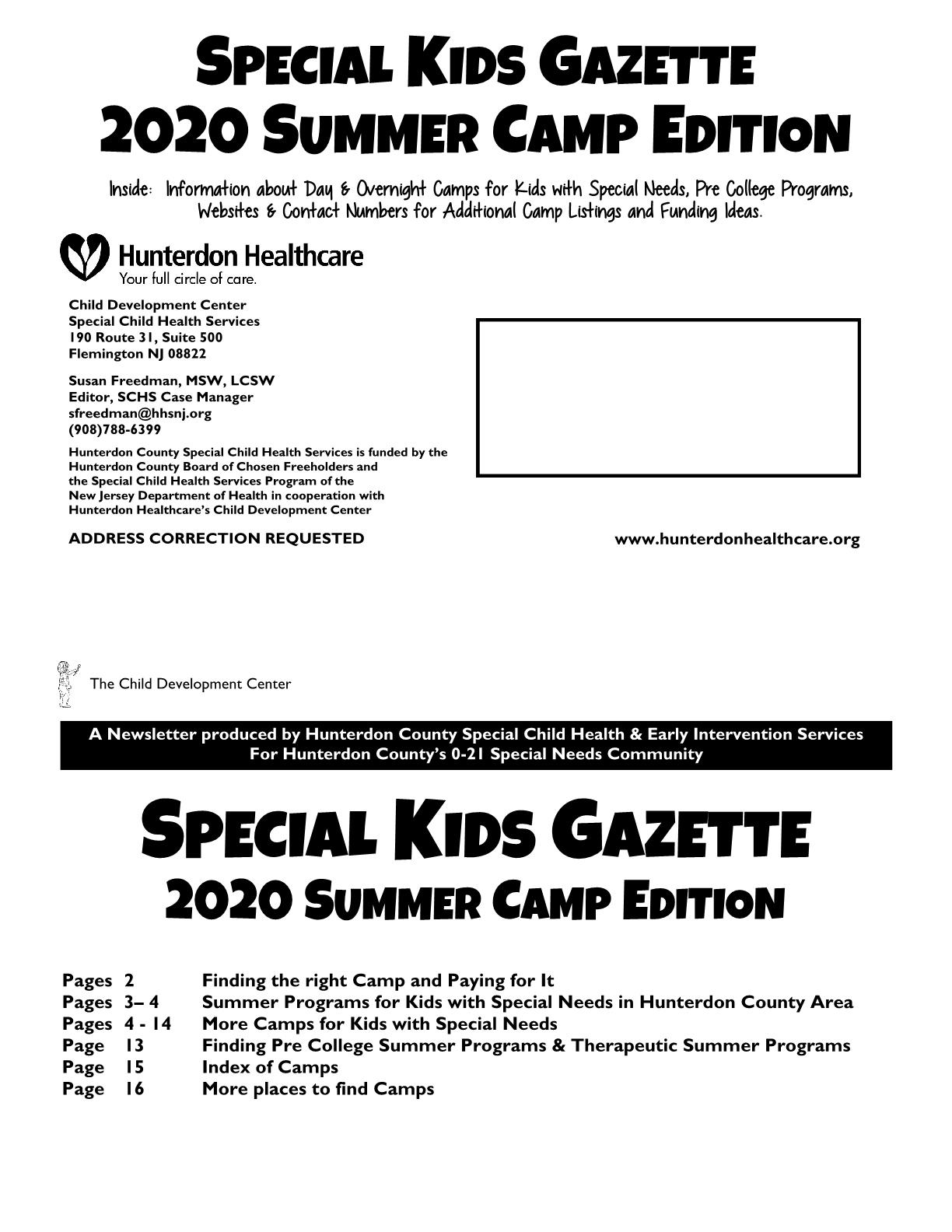 Special Kids Gazette Summer Camp Edition 2020
