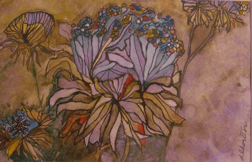 """Blue Blossom, watercolor and ink, 5-1/2"""" x 8-1/2"""""""""""