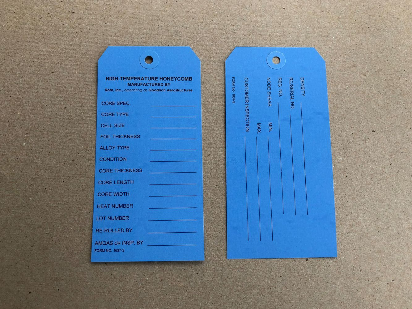 Large Manufacturing Tags
