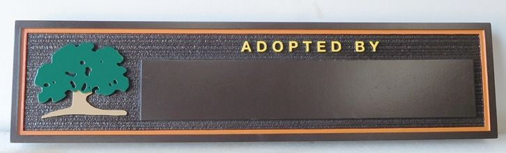 """GA16549 - Carved High-Density-Urethane (HDU) Tree """"Adopted By"""" Donor Plaque for  a City Park"""