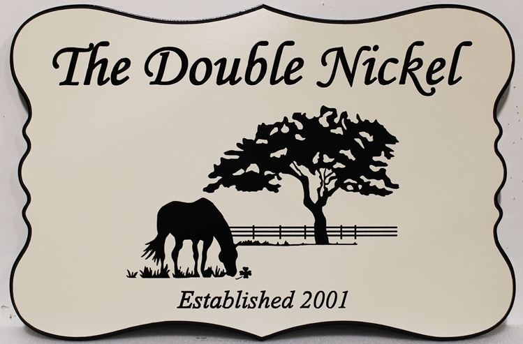 """P25341 - Engraved HDU Sign for """"The Double Nickel"""" Farm , with a Horse Grazing in Front of a Tree as Artwork"""