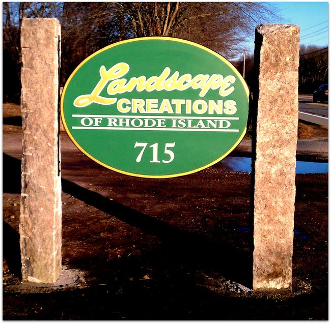 S28022 - Entrance Sign to Landscaping Company, Carved  Sign with Stone Pillars