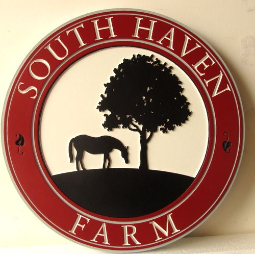 P25086 - Round Farm Sign with  Carved, Raised Horse and Tree