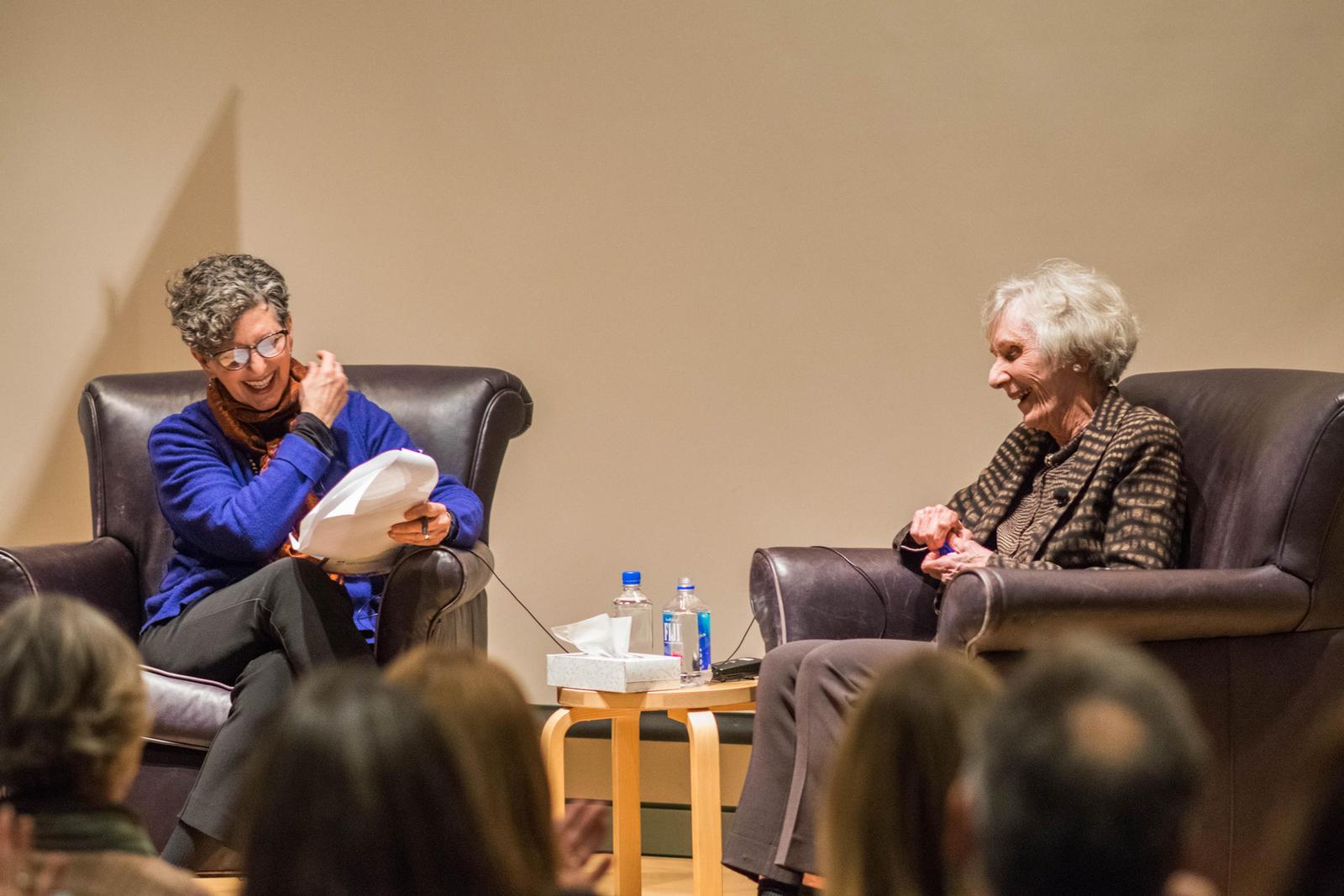 Marcie Sillman interviewing Virginia Wright.