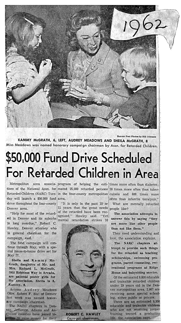 MARC launches 50K Fund Drive with Audrey Meadows(1962)
