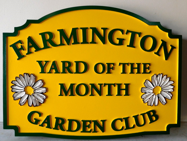 "KA20919 - ""Farmington"" HOA Garden Club Yard-of-the-Month Sign, with Daisy Blossoms"