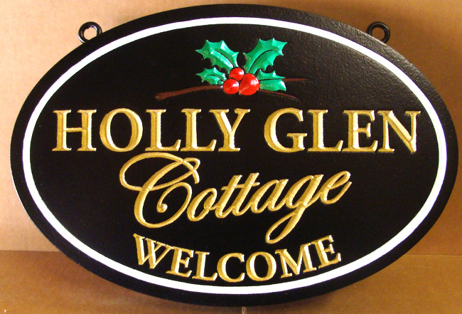 M22117 - Engraved Holly Glen Cottage  Name Sign, with 3-D Holly Leaves and Berries