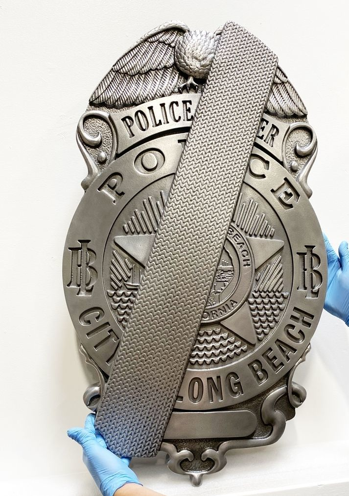PP-1490 - Carved 3-D HDU Wall Plaque of the Badge of Police Officer, Long Beach, California