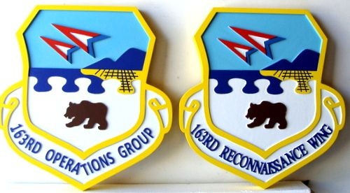 V31527 - 2.5 Carved HDU  Wall Plaques for USAF 163rd Operations Group Crest