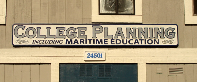 "SA28470 - Large Carved HDU Sign for ""College Planning including Maritime Education"" Office"
