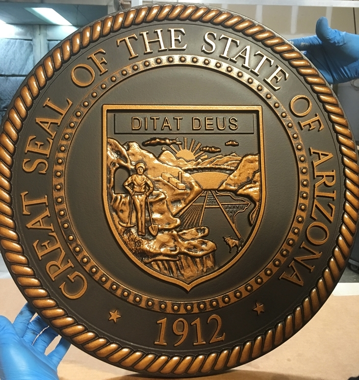 W32017 - 3-D Carved Wall Plaque ofwall Plaque of the Great Seal of the State of Arizona