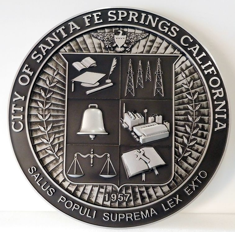 X33248 - Carved 3-D HDU Plaque of the Seal of the City of Santa Fe Springs, California