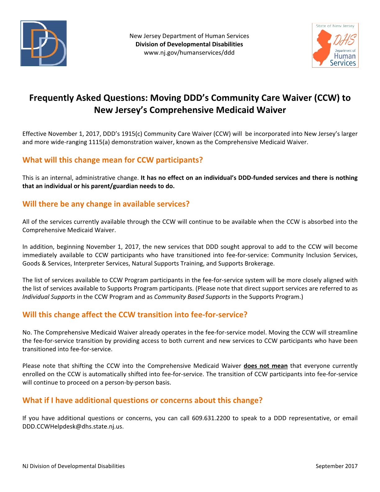 Frequently Asked Questions: Moving DDD's Community Care Waiver (CCW) to New Jersey's Comprehensive Medicaid Waiver