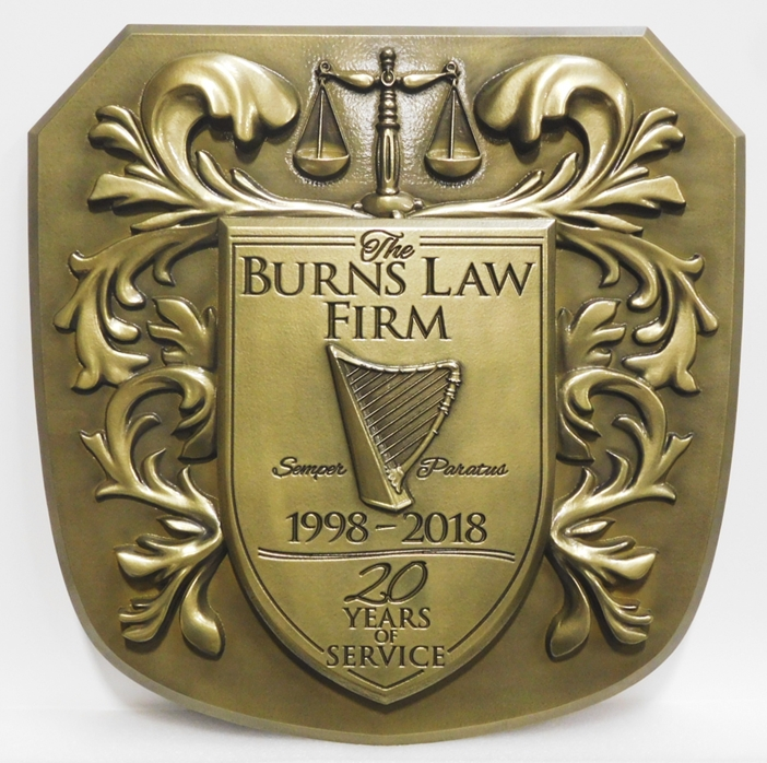 XP-1054 - Carved Plaque of Coat-of-Arms with Scales of Justice, Harp and Flourishes, for a Law Firm, 3-D Brass Plated
