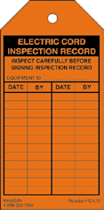 Electric Cord Inspection Record Tag