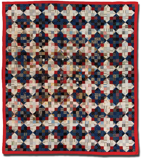 Split Nine Patch, Maker Unknown, Probably made in Pennsylvania, United States, Circa 1890-1940, 84 x 74 in, IQSC 2003.003.0129