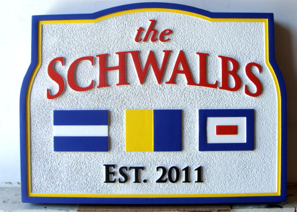 L21998- Carved and Sandblasted HDU Coastal Residence or Yacht Berth Sign, with Nautical Signal Flags