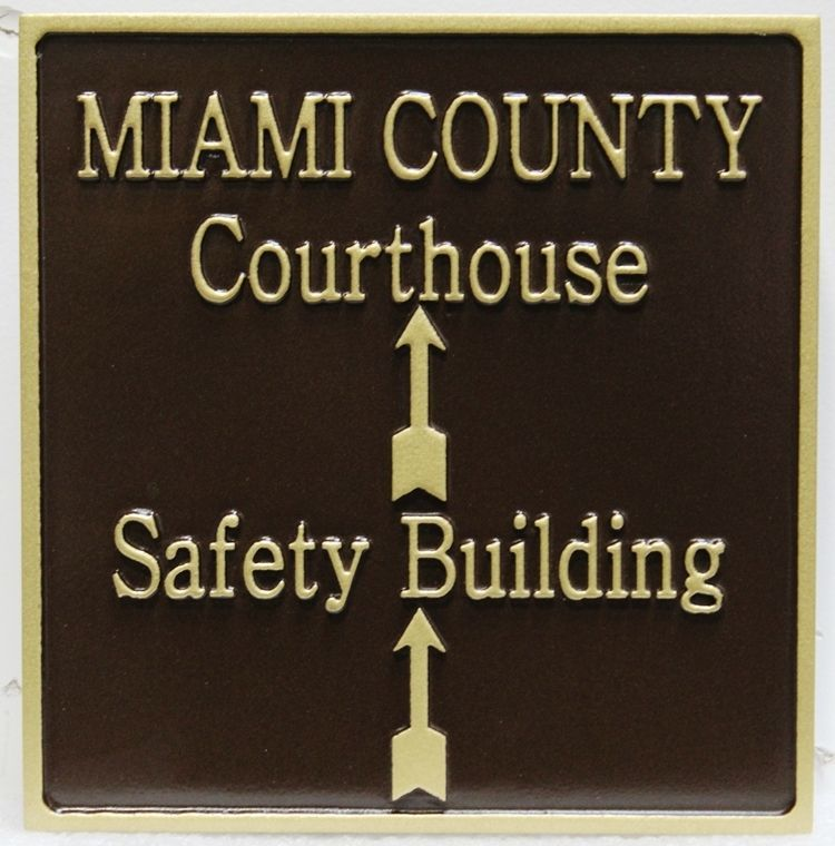 HP-1446 - Carved 2.5-D Raised Relief  DirectionalSign for the Miami County Courthouse