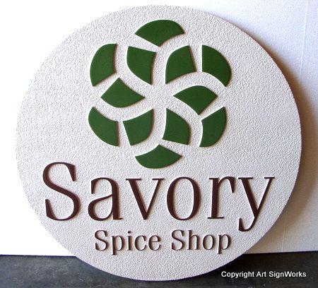 "SA28353 - Round Sandblasted  ""Savory Spice Shop"" Sign"