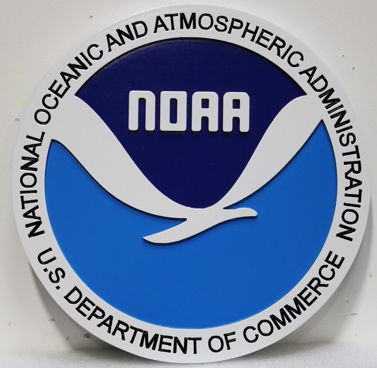 AP-5071 - Carved 2.5-D HDU Plaque of the Seal of the National Oceanic and Atmospheric Administration (NOAA), Department of Commerce