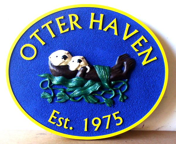 """L21674 - Carved 3-D Seashore Residence Name Sign, """"Otter Haven"""", with Otter Family in Kelp"""