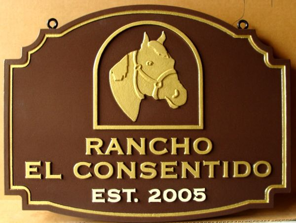 """P25162 - Carved HDU Sign for """"Rancho El Consentido"""", with Gold-Leafed Gilded Horse Head"""