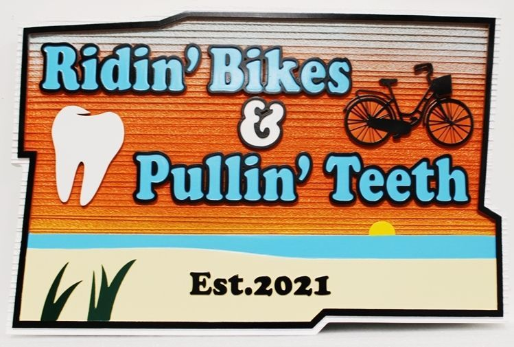 "BA11647 - Carved and Sandblasted Wood Grain Entrance Office Sign for ""Ridin' Bikes & Pulling Teeth"""
