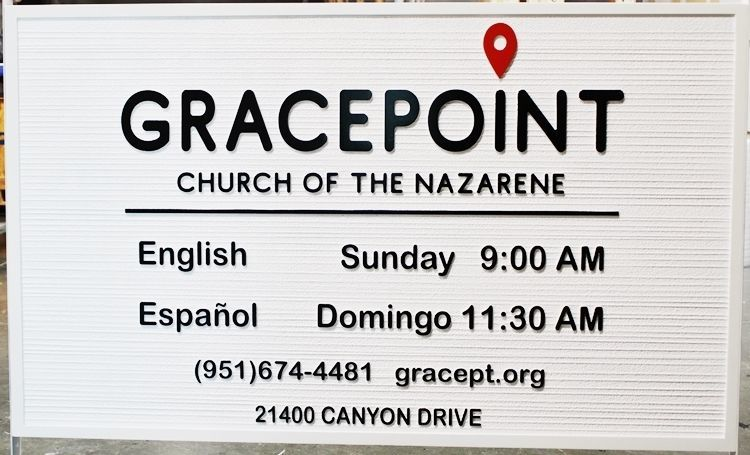 """D13117 - Carved  2.5-D and Sandblasted HDU Sign for """"Gracepoint - Church of the Nazarene"""""""