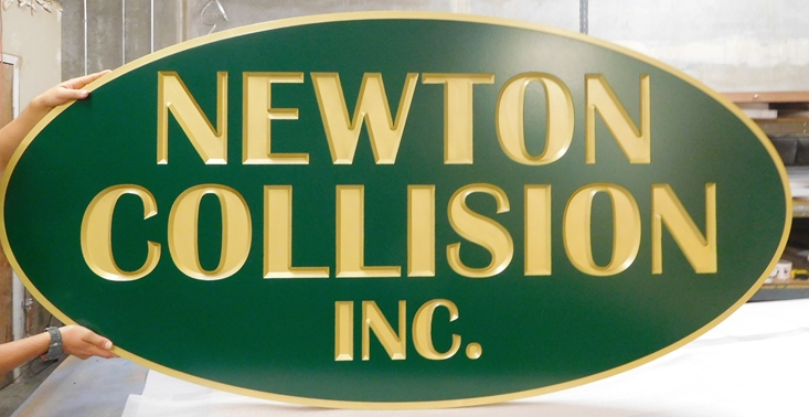 "S28094 - Engraved Sign Made for the ""Newton Collision""  Company"