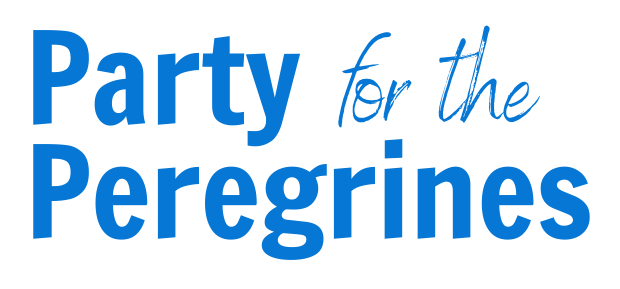 """""""Audubon"""" blue text reads """"Party for the Peregrines"""" in fun font."""