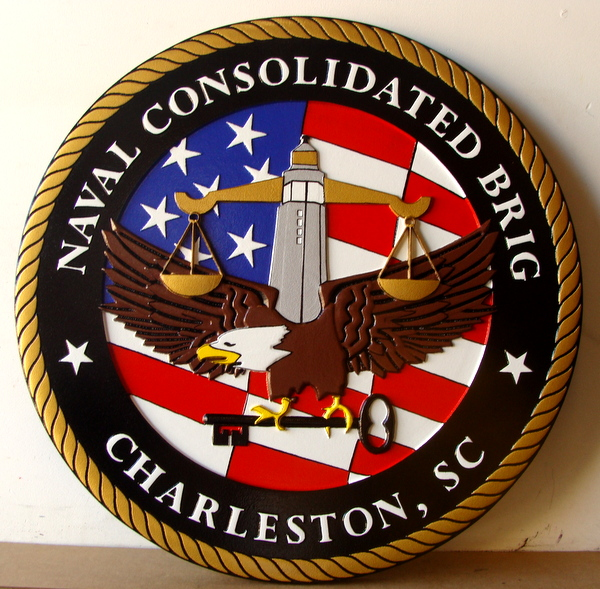 V31314 - Carved Wall Plaque for Seal of US Navy Consolidated Brig, Charleston, S.C.