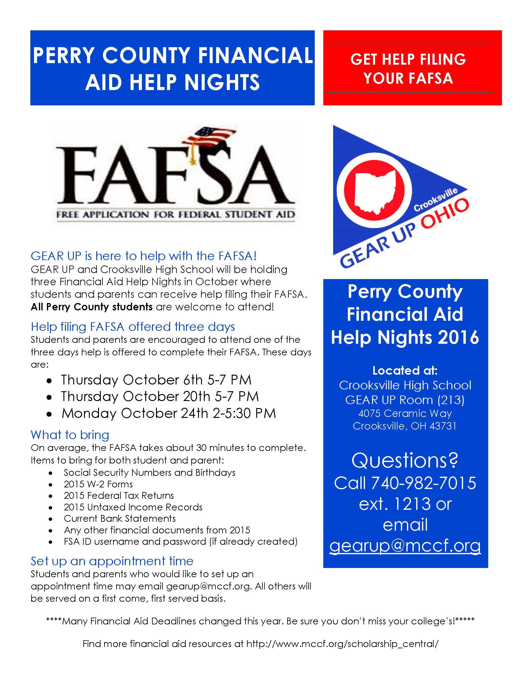 Financial Aid Help Nights - Crooksville High School