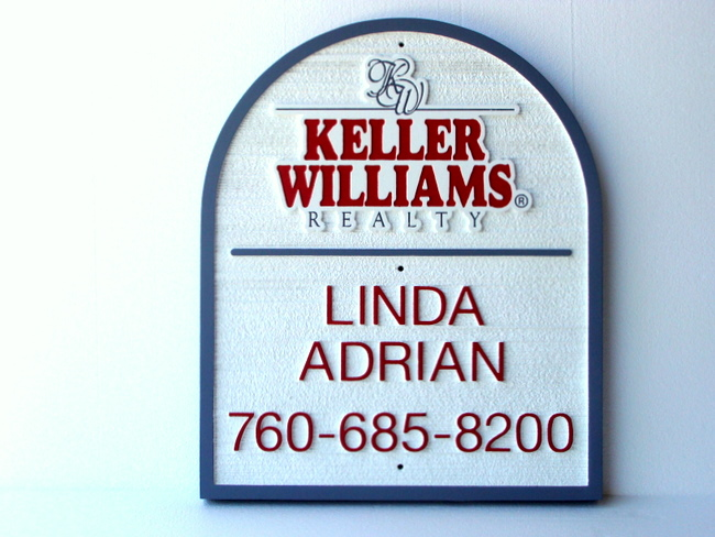 C12305 - Large Sandblasted High-Density-Urethane (HDU ) Sign for Keller Williams Realty Group.