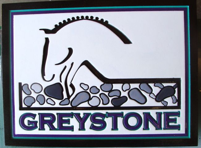 P25058 - Carved HDU Sign with Silhouette of Horse Stylized Horse Jumping Stone Wall