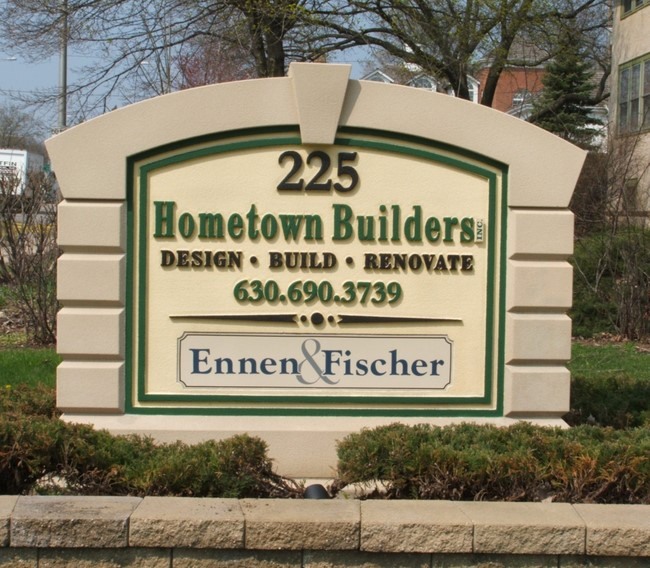 "S28215 -  EPS  Monument Address Sign for ""Hometown Builders"", a Building and Renovation Company"