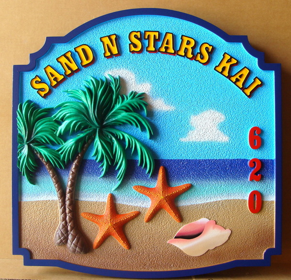 "L21102 - Carved HDU Beach House Sign, ""Sand & Stars Kai"" with 3-D Palm Tree, Conch Shell, and Starfish"