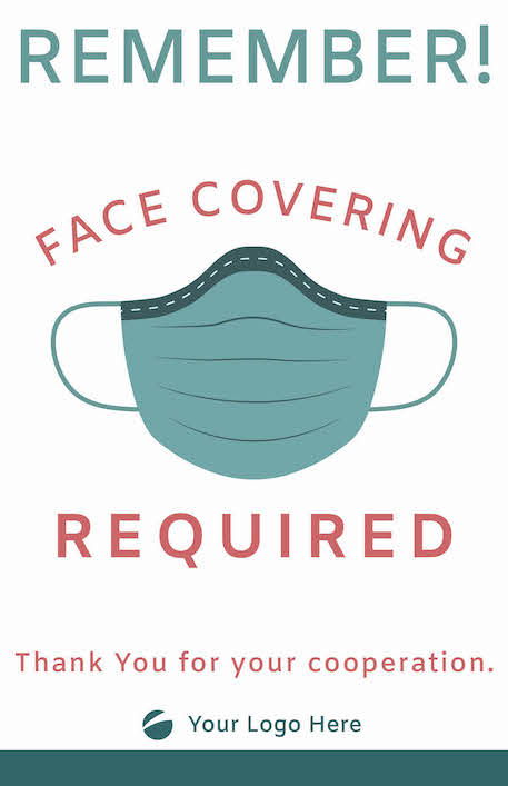 Face Covering Sign - Teal/Coral