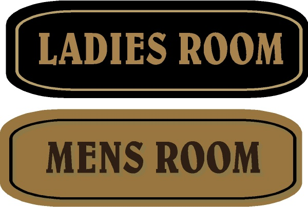 GB16794 - Carved, HDU Sign for Ladies' Room and Men's Room