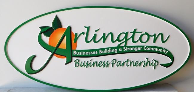 "SA28674 -   Carved High-Density-Urethane Sign for the  ""Arlington Business Partnership""., with  Orange"