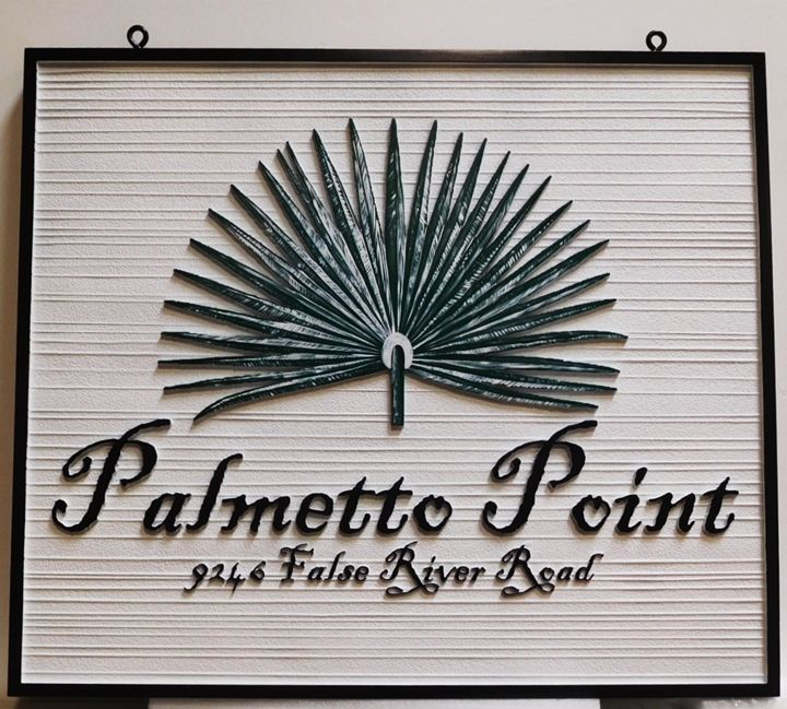 """L21929 - Carved and Sandblasted Coastal residence Name and Address Sign """"Palmetto Point"""", 2.5-D"""