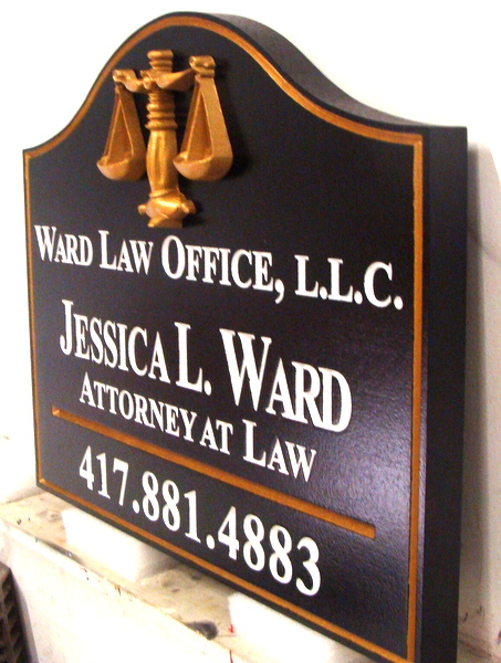 A10321 - Carved Law Office Sign (side view)
