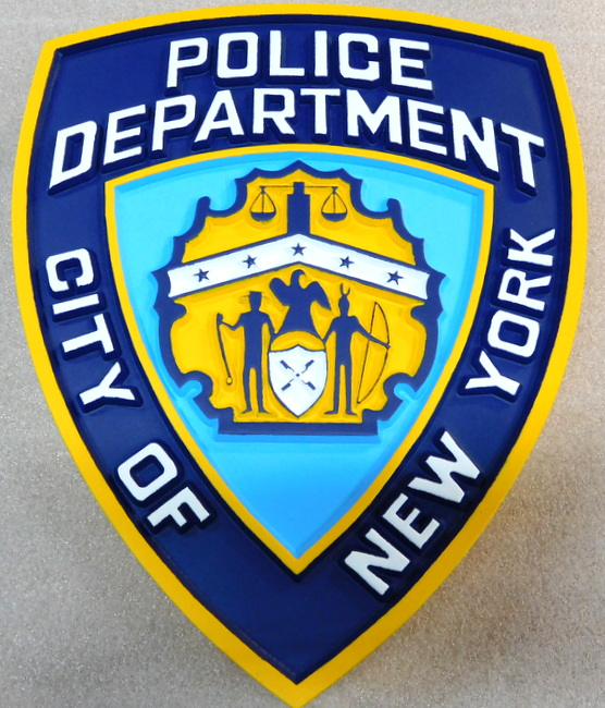 PP-2040 - Carved  Wall Plaque of the Shoulder Patch of the New York Police,  N.Y., Artist Painted