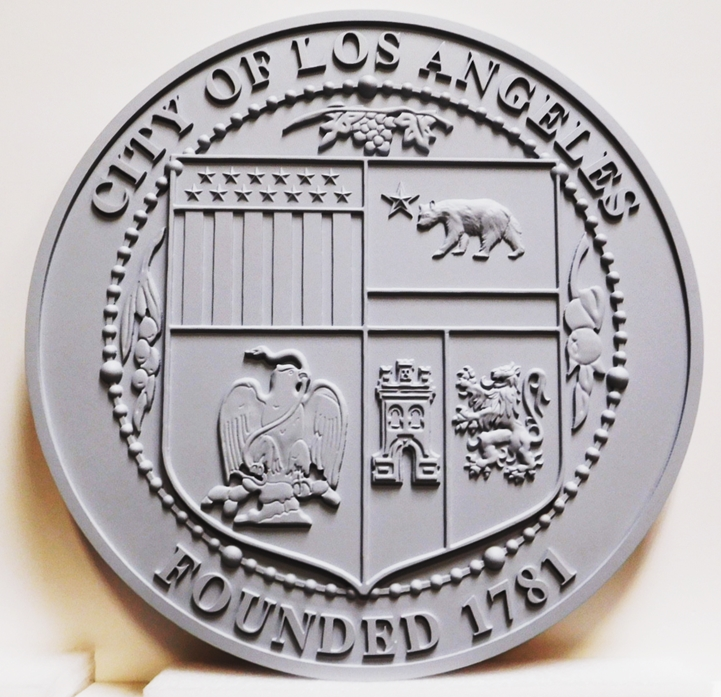 DP-1643 - Carved Plaque of the Seal of the City of Los Angeles , 2.5-D Raised Relief, Painted Gray