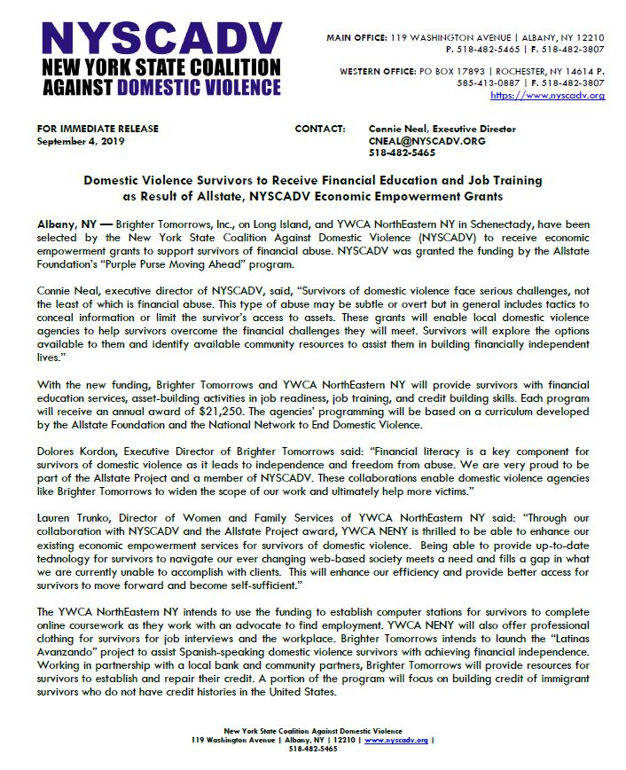 Press Release: Domestic Violence Survivors to Receive Financial Education and Job Training  as Result of Allstate, NYSCADV Economic Empowerment Grants