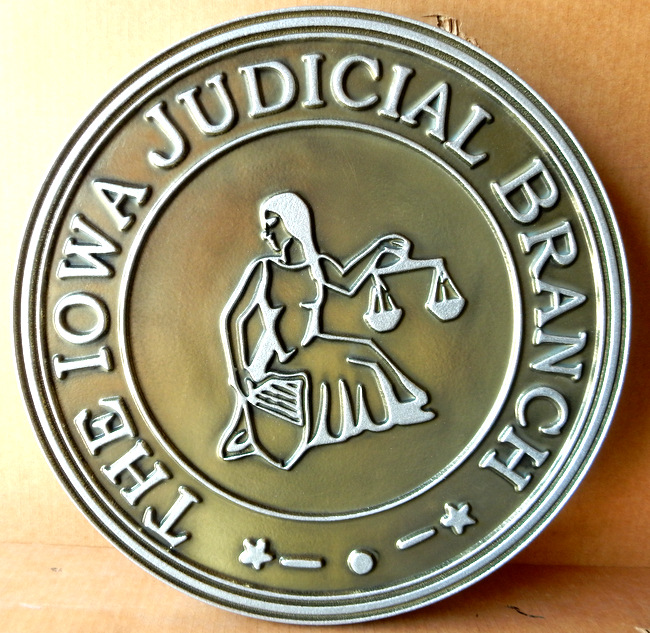 M7258 - Carved 2.5D Nickel-Silver Coated Wall Seal for the State of Iowa Judicial Branch