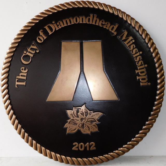M7011 - Bronze-Coated Plaque with Dark Patina Wall Plaque for the City of Diamondhead, Mississippi
