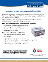 Let's Talk About Pain Medicines fact sheet