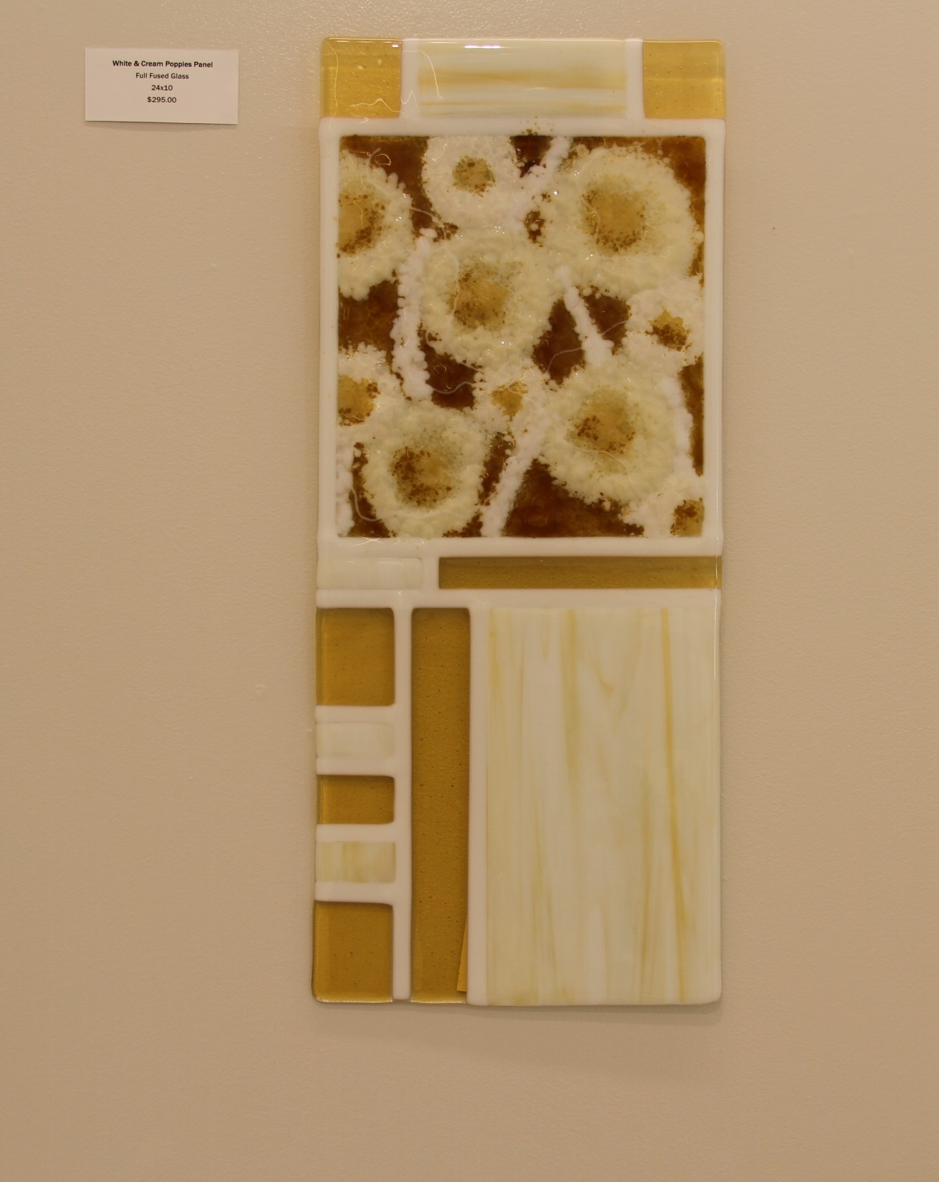 White Cream and Poppies Panel