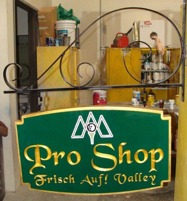 E14203 - Carved Gold-Leaf Gilded Golf Pro Shop Sign